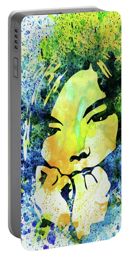 Bjork Portable Battery Charger featuring the mixed media Legendary Bjork Watercolor II by Naxart Studio