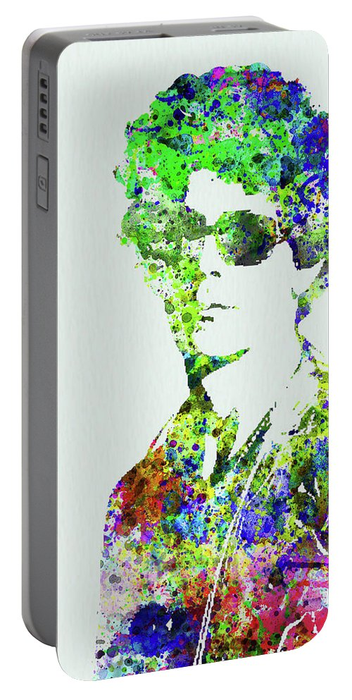Bob Dylan Portable Battery Charger featuring the mixed media Legendary Bob Dylan Watercolor by Naxart Studio