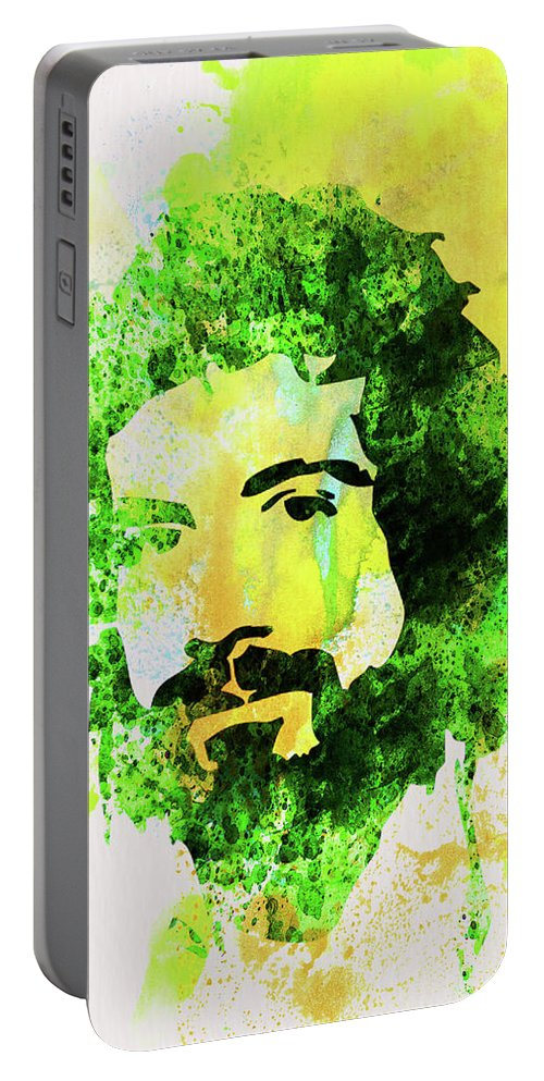 Cat Stevens Portable Battery Charger featuring the mixed media Legendary Cat Stevens Watercolor by Naxart Studio
