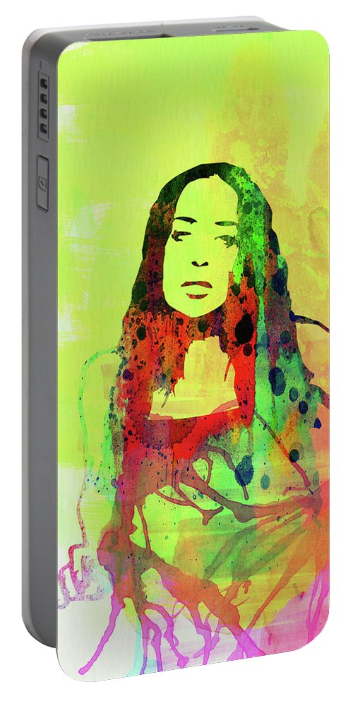 Fiona Apple Portable Battery Charger featuring the mixed media Legendary Fiona Apple Watercolor by Naxart Studio