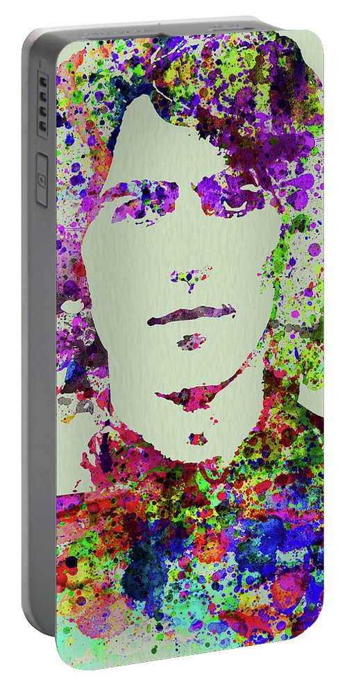 Beatles Portable Battery Charger featuring the mixed media Legendary George Harrison Watercolor II by Naxart Studio