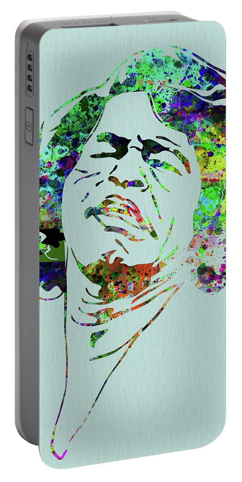 James Brown Portable Battery Charger featuring the mixed media Legendary James Brown Watercolor by Naxart Studio