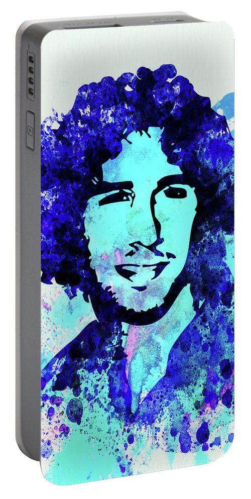 Josh Groban Portable Battery Charger featuring the mixed media Legendary Josh Groban Watercolor by Naxart Studio