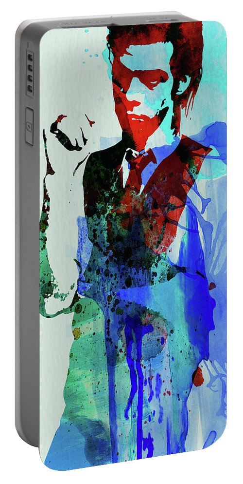 Nick Cave Portable Battery Charger featuring the mixed media Legendary Nick Cave Watercolor by Naxart Studio
