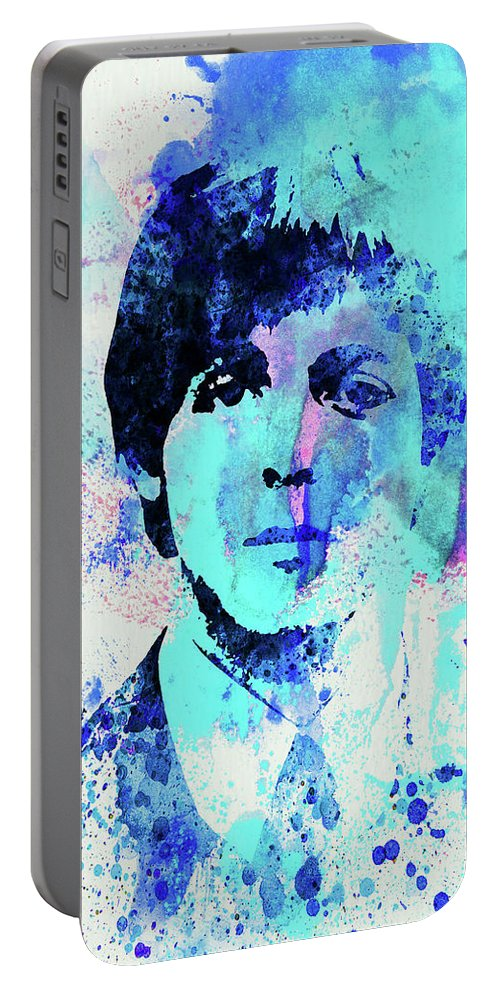 Beatles Portable Battery Charger featuring the mixed media Legendary Paul Watercolor by Naxart Studio