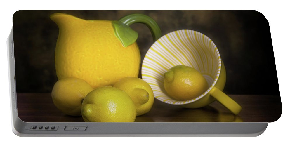 Lemon Portable Battery Charger featuring the photograph Lemons With Lemon Shaped Pitcher by Tom Mc Nemar