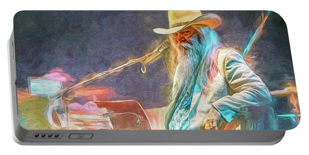 Leon Russell Portable Battery Charger featuring the mixed media Leon Russell by Mal Bray