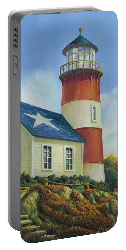 Michael Humphries Portable Battery Charger featuring the painting Liberty's Light by Michael Humphries