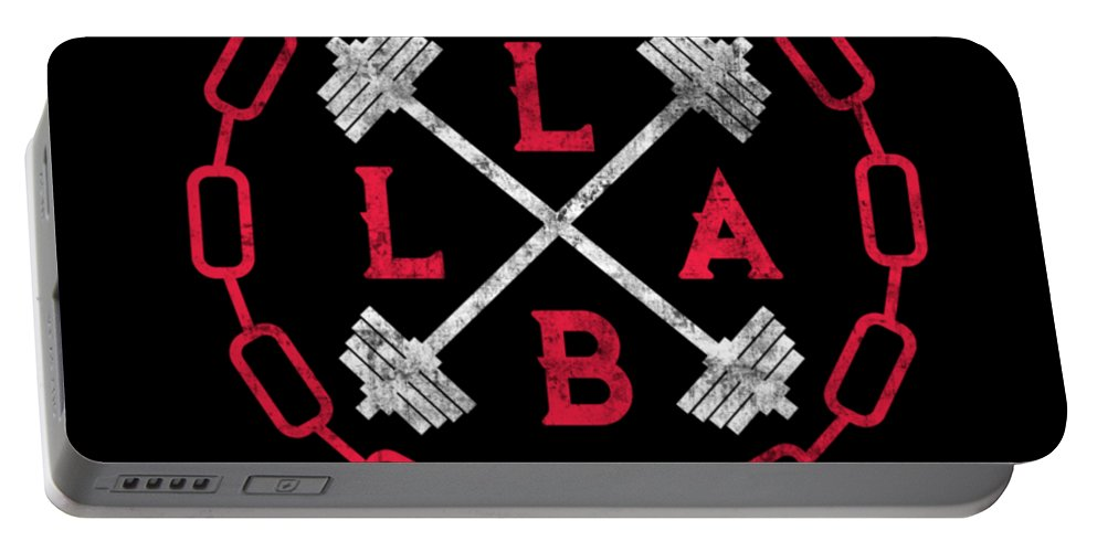 Lift-like-a-beast Portable Battery Charger featuring the digital art Lift Like A Beast Weightlifting Powerlifting Gym by The Perfect Presents