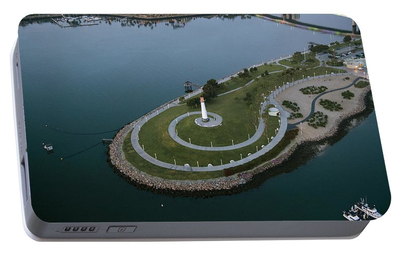 Photography Portable Battery Charger featuring the photograph Lighthouse On The Coast, Long Beach by Panoramic Images