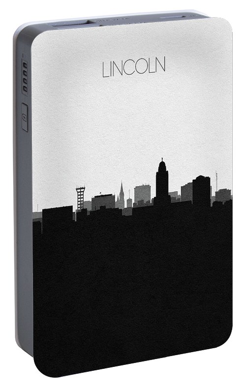Lincoln Portable Battery Charger featuring the digital art Lincoln Cityscape Art by Inspirowl Design