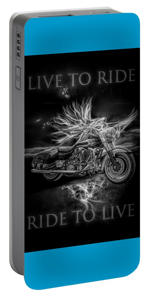 Indian Portable Battery Charger featuring the digital art Live To Ride, Ride To Live Black And White by Debra and Dave Vanderlaan