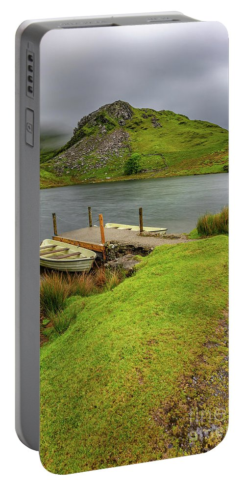 Llyn Y Dywarchen Portable Battery Charger featuring the photograph Llyn Y Dywarchen Boats Snowdonia by Adrian Evans
