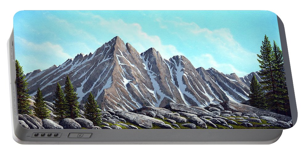 Landscape Portable Battery Charger featuring the painting Lofty Peaks by Frank Wilson