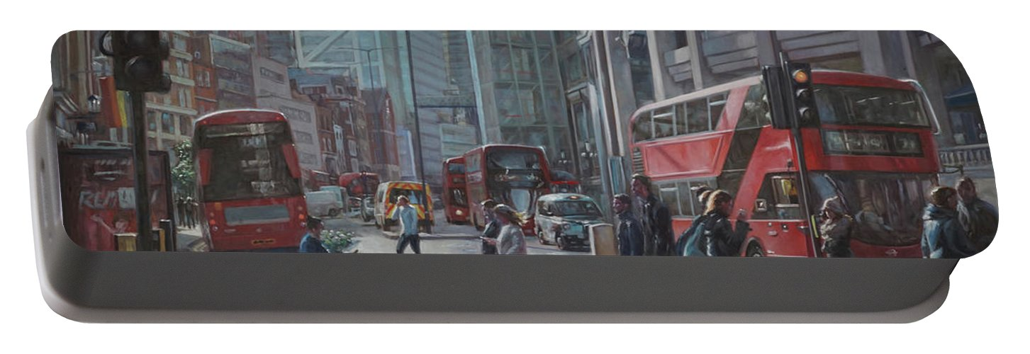 London Portable Battery Charger featuring the painting London Bishopsgate by Martin Davey