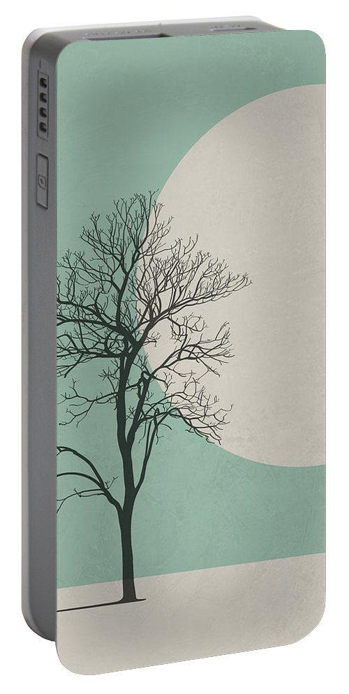 Botanical Portable Battery Charger featuring the digital art Lonely Tree by Naxart Studio