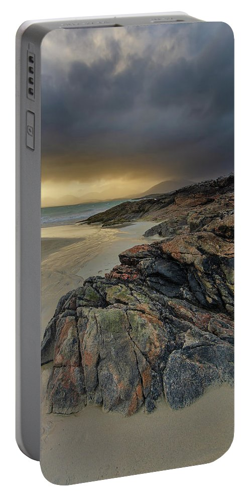 Luskentyre Beach Portable Battery Charger featuring the mixed media Luskentyre Sunset by Smart Aviation