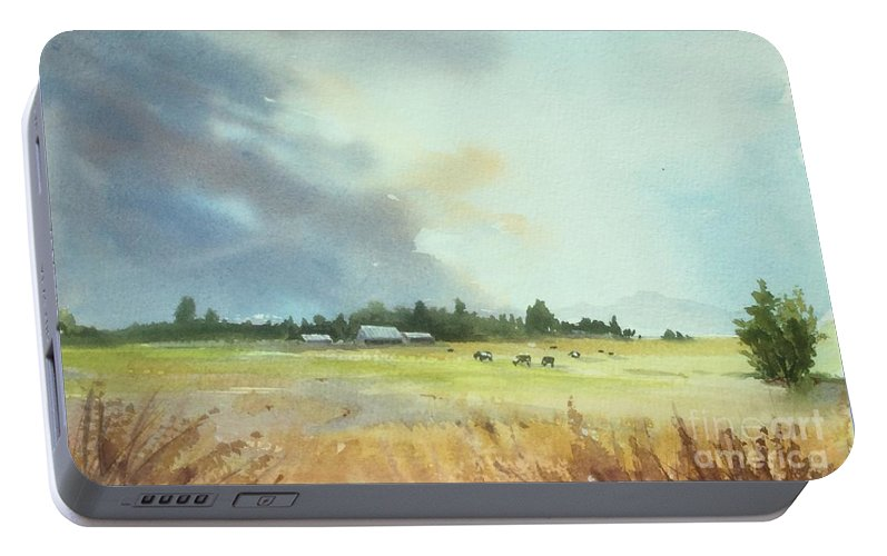 Lynden Portable Battery Charger featuring the painting Lynden Farm, Wa by Yohana Knobloch