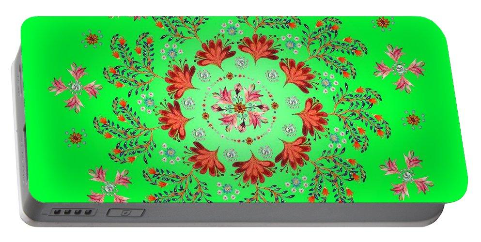 Mandala Portable Battery Charger featuring the digital art Mandala Flowering Series#3. Green by Elena Kotliarker