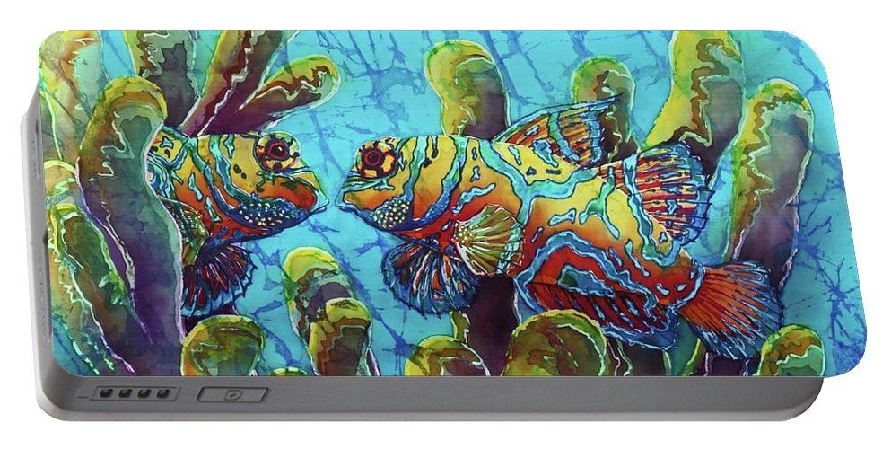 Mandarinfish Portable Battery Charger featuring the painting Mandarinfish by Sue Duda
