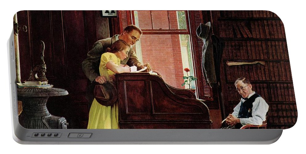 Clerks Portable Battery Charger featuring the drawing Marriage License by Norman Rockwell