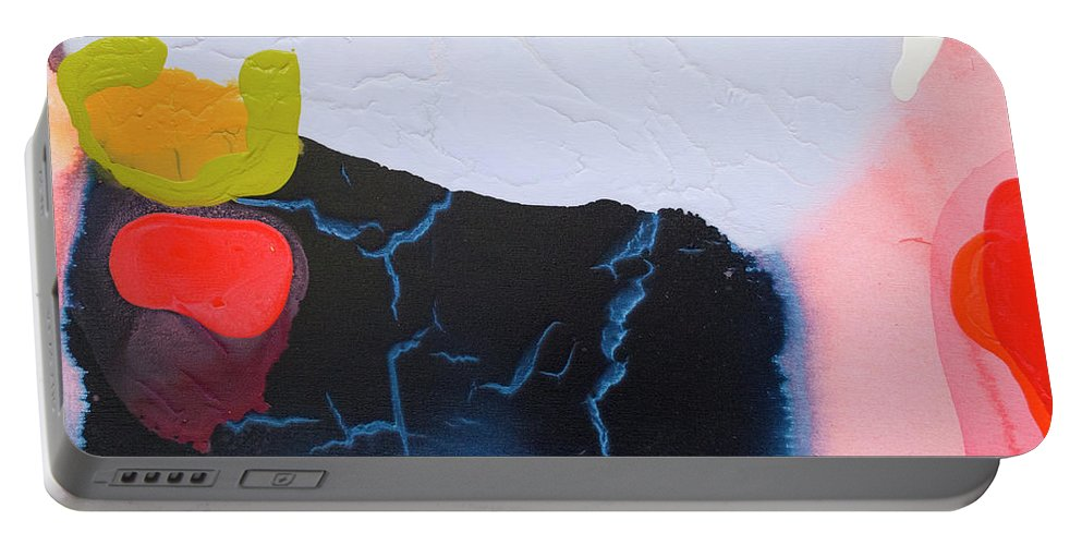 Abstract Portable Battery Charger featuring the painting Maya 01 by Claire Desjardins