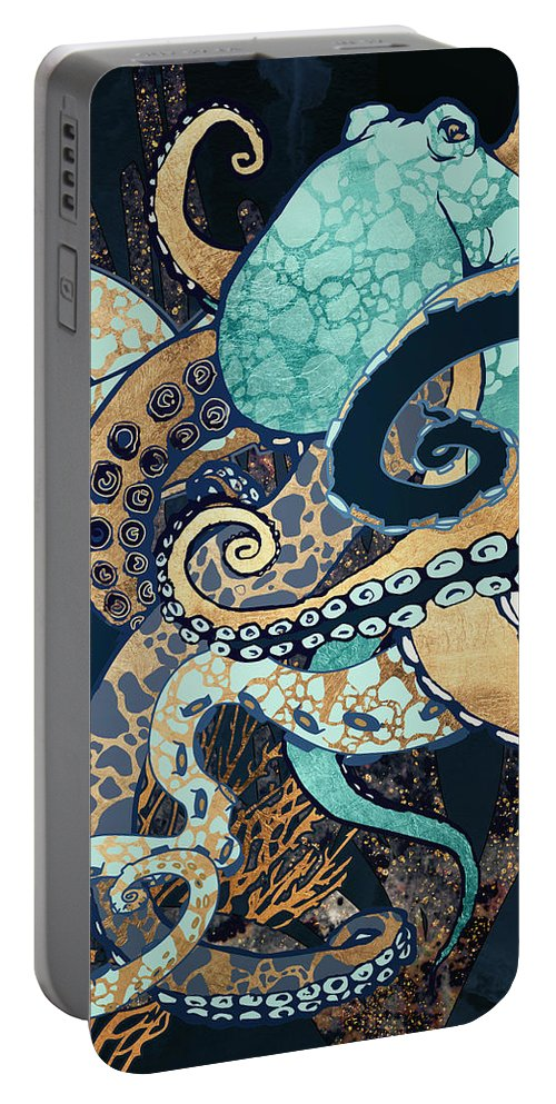 Digital Portable Battery Charger featuring the digital art Metallic Octopus II by Spacefrog Designs