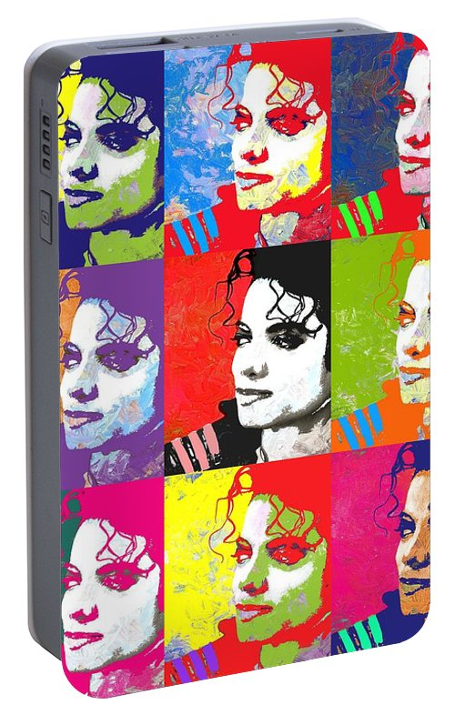 Pop Portable Battery Charger featuring the digital art Michael Jackson Andy Warhol Style by Linda Mears