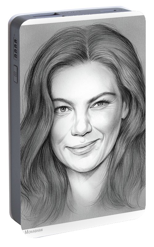 Michelle Monaghan Portable Battery Charger featuring the drawing Michelle Monaghan by Greg Joens