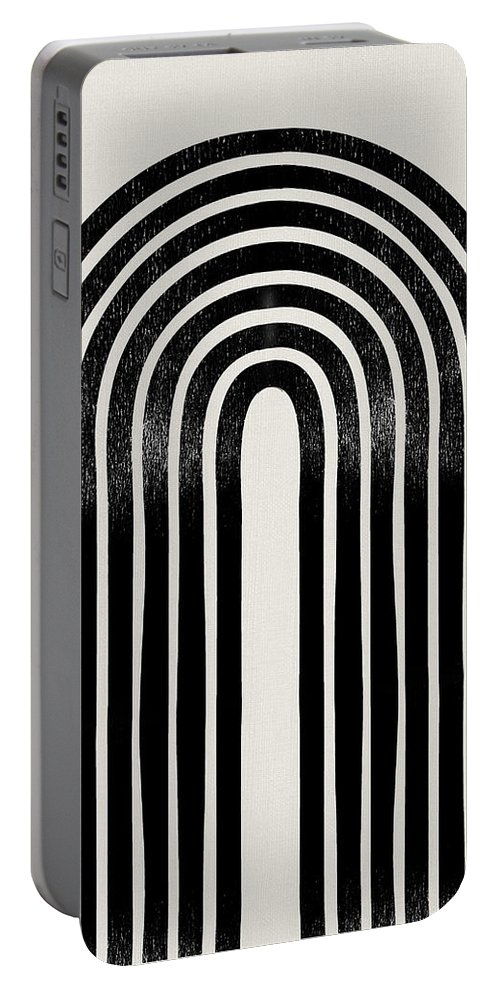 Black And White Portable Battery Charger featuring the mixed media Mid Century Abstract Geometric Iv by Naxart Studio