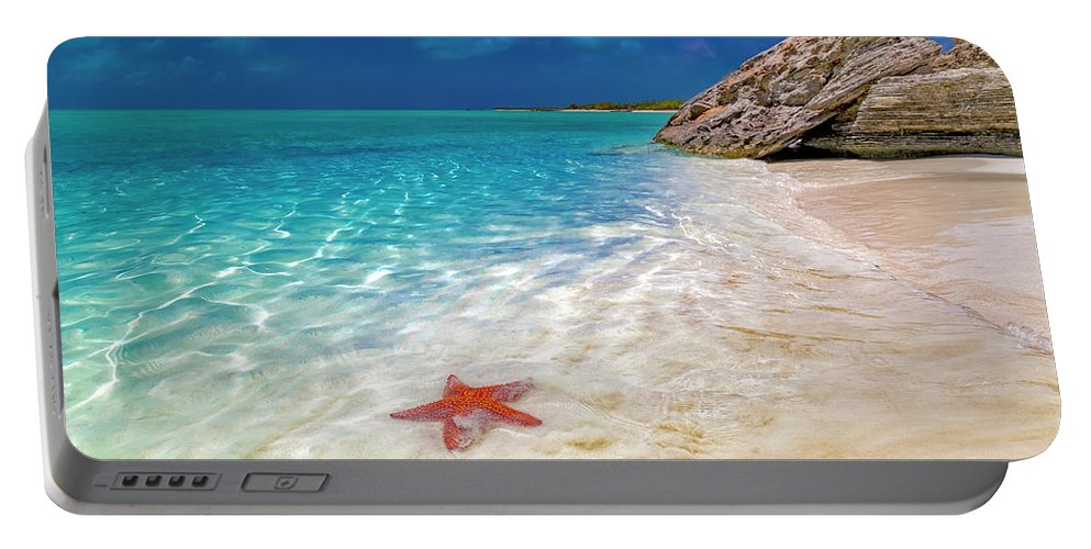 Starfish Portable Battery Charger featuring the photograph Middle Caicos Tranquility Awaits by Betsy Knapp