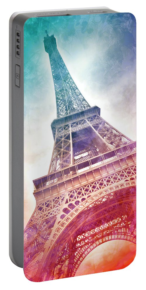 Europe Portable Battery Charger featuring the mixed media Modern Art Eiffel Tower - Panorama by Melanie Viola