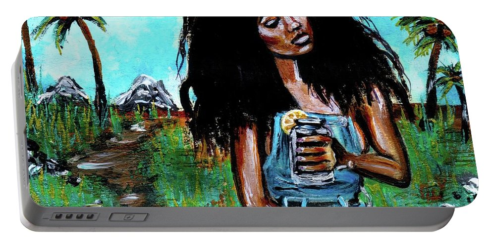 Portable Battery Charger featuring the painting Moments of Bliss by Artist RiA