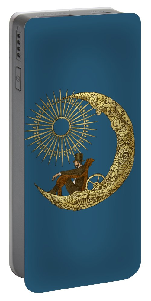 Blue Portable Battery Charger featuring the digital art Moon Travel by Eric Fan