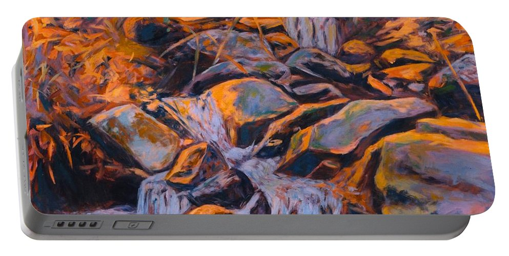 Rocks Portable Battery Charger featuring the painting Morning Light by Kendall Kessler