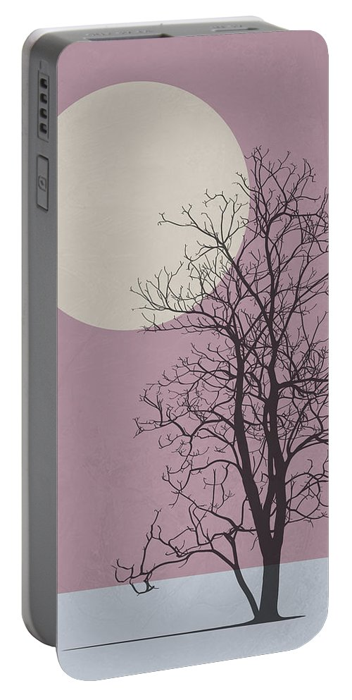 Tree Portable Battery Charger featuring the mixed media Morning Tree by Naxart Studio
