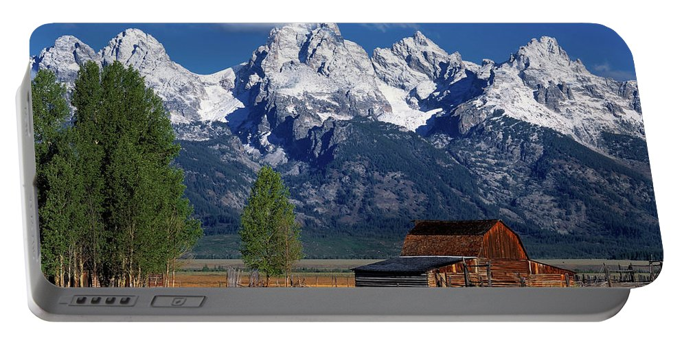 Altitude Portable Battery Charger featuring the photograph Moulton Barn Tetons by Leland D Howard