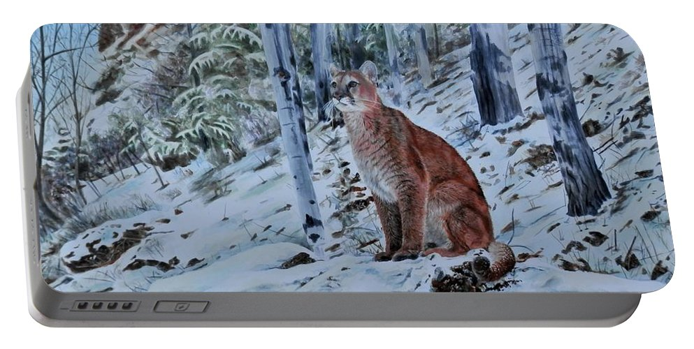 Mountain Lion Portable Battery Charger featuring the painting Mountain Lion by John Neeve