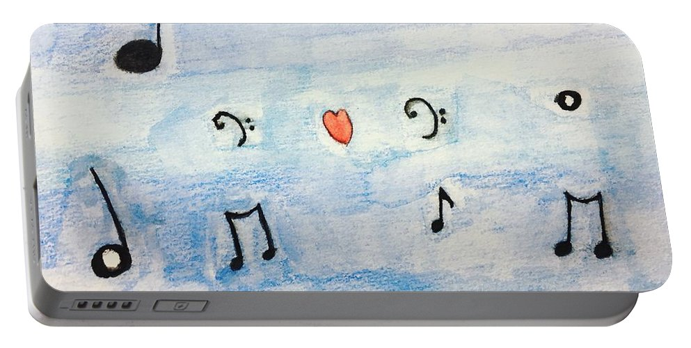 Music Portable Battery Charger featuring the painting Music In The Air by Epic Luis Art