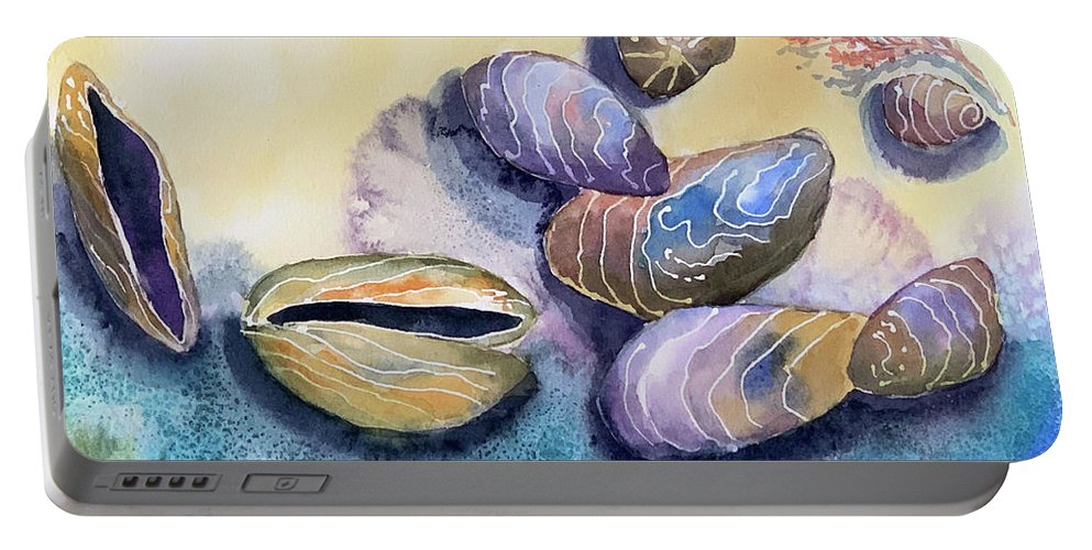 Sea Shells Portable Battery Charger featuring the painting Mussels Sea Shells by Hilda Vandergriff