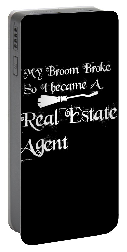 Halloween Shirt Portable Battery Charger featuring the digital art My Broomrealestateagent by Kaylin Watchorn