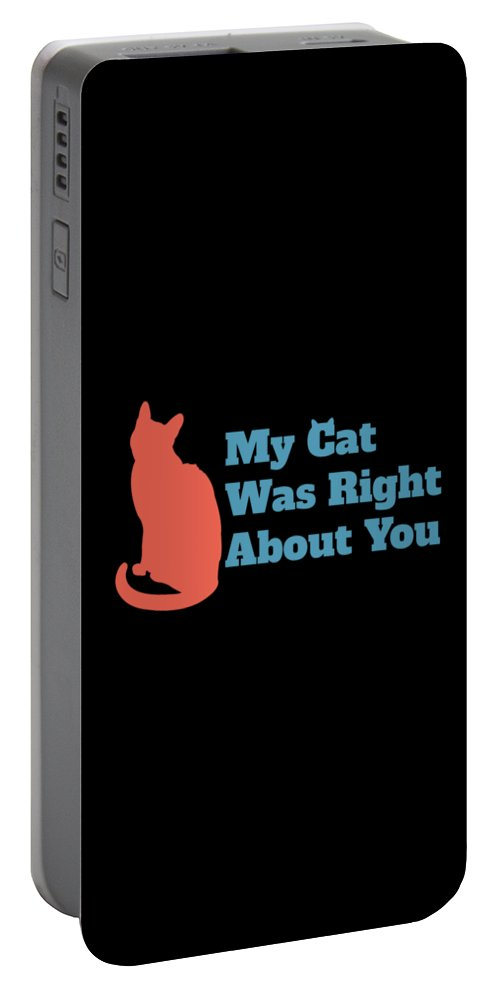 Black Cat Portable Battery Charger featuring the digital art My Cat Was Right About You by Kaylin Watchorn