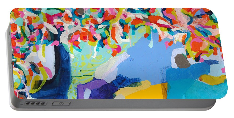 Abstract Portable Battery Charger featuring the painting My Vanity by Claire Desjardins