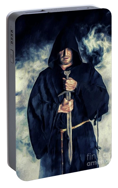Monk Portable Battery Charger featuring the painting Mystic Monk by Pierre Blanchard