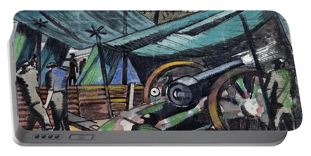 B1019 Portable Battery Charger featuring the painting A Howitzer Firing, 1918 by Paul Nash