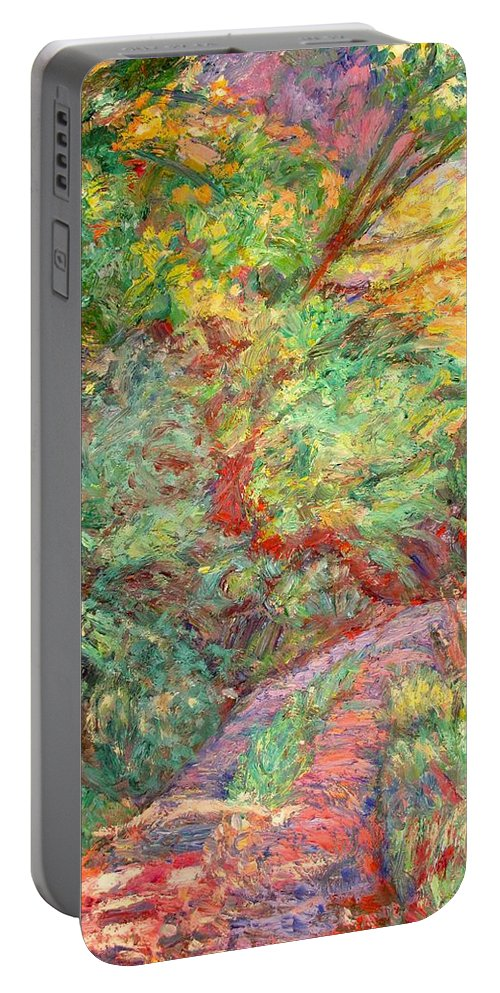 New River Trail Portable Battery Charger featuring the painting New River Trail by Kendall Kessler
