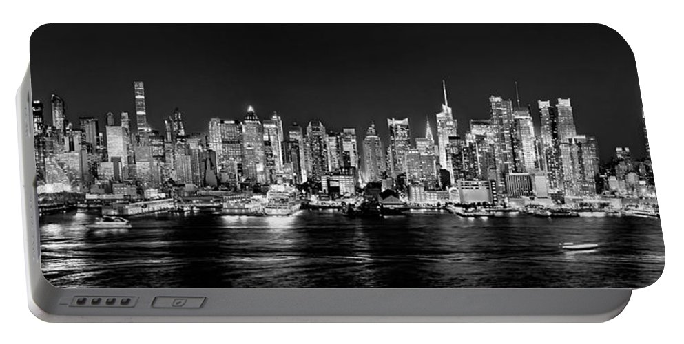 New York City Skyline At Night Portable Battery Charger featuring the photograph New York City Nyc Skyline Midtown Manhattan At Night Black And White by Jon Holiday
