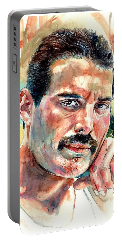 Freddie Mercury Portable Battery Charger featuring the painting No One But You - Freddie Mercury Portrait by Suzann Sines