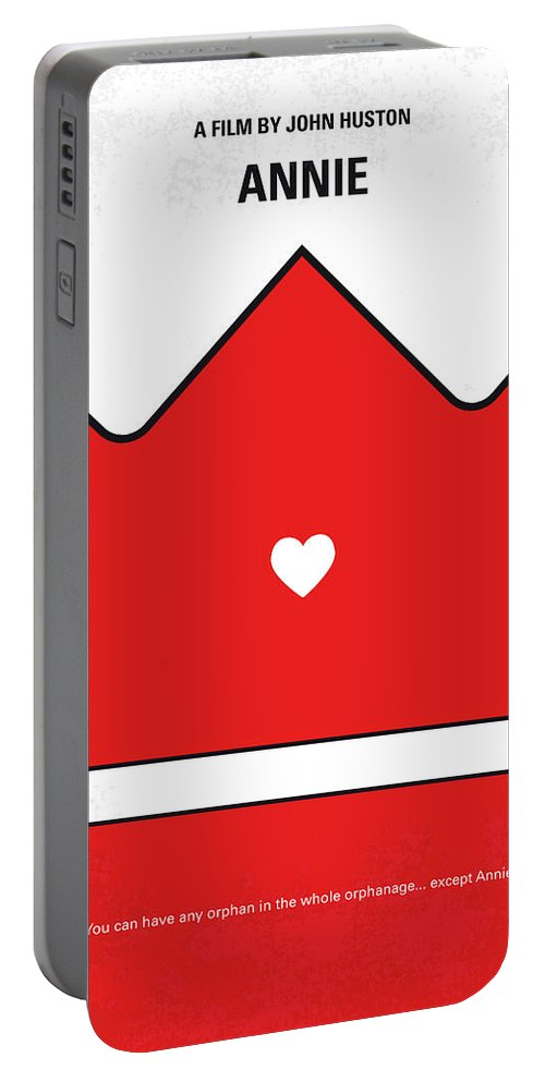 Annie Portable Battery Charger featuring the digital art No1027 My Annie Minimal Movie Poster by Chungkong Art
