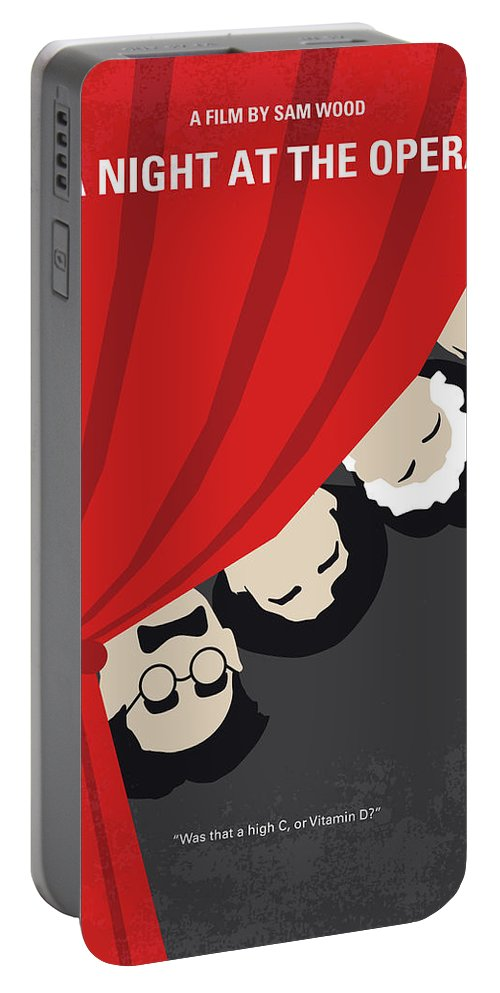 Night Portable Battery Charger featuring the digital art No1053 My A Night At The Opera Minimal Movie Poster by Chungkong Art
